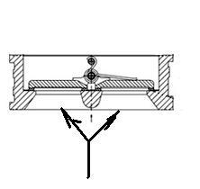 Клапан обратный двустворчатый или двухлепестковый. Схема. разрез.1