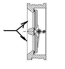 Клапан обратный двустворчатый или двухлепестковый. Схема. разрез.2