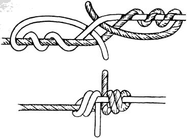 Вязание узлов. Змеиный узел (+) – очень надежный узел; – «не ползёт»; (-) – вяжется медленно; – требует практики; (!) – используется на тонких мягких капроновых веревках; – на синтетических рыболовных лесках затягивается «намертво».