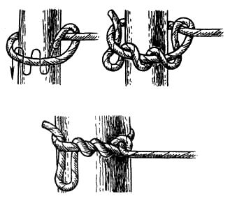 Вязание узлов. Узел «удавка» (!) – узел легко вяжется; – после снятия нагрузки легко развязывается; (-) – «ползёт» при переменных нагрузках; (!) – надежно держит при числе витков не менее четырех; – используется для привязывания веревки к дереву, столбу и т.п.; – надежен при постоянной нагрузке; – узел запрещено использовать для организации навесных переправ (в туризме, альпинизме).