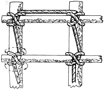 Вязание узлов. Вязание деревянного каркаса с использованием узла питона