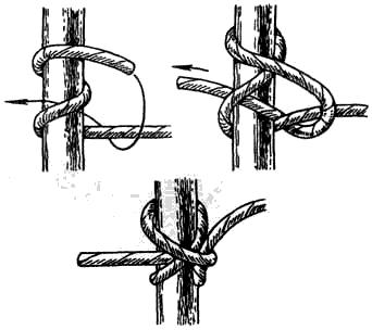 Вязание узлов. Шахтерский узел – надежный узел; – «не ползёт»; – легко развязывается; – трудно запоминается, нужна практика; – используется для привязывания веревки к дереву, столбу и т.п.; – по своему назначению занимает промежуточное положение между выбленочным узлом и узлом удава.