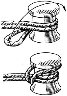 Вязание узлов. Паловый узел (+) – простой надежный узел; (!) – используется для крепления швартовных тросов к причальным устройствам (пал, тумба).
