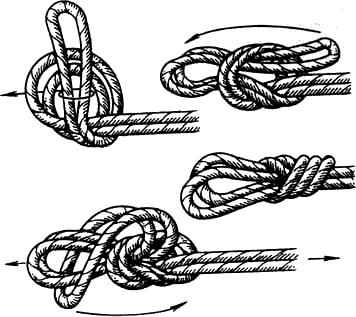 Вязание узлов. Узел «заячьи ушки» (+) – образует двойную петлю, что увеличивает ее прочность на разрыв; – «не ползёт»; (-) – под нагрузкой сильно затягивается; (!) – может использоваться везде, где нужна прочная петля; – применяется в альпинизме для организации связок, для транспортировки пострадавшего на небольшую глубину (в этом случае длина петель – 40 см).