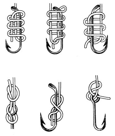Вязание узлов. Варианты привязывания рыболовных крючков