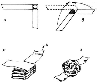 Вязание узлов. Бант «Розочка» для отделки одежды а – сшить два куска ленты шириной 1 см под углом в 90°; б – поочередно загибать каждый конец 6-8 раз; в – стопку аккуратно обхватить ладонью и не сильно потянуть за конец «А» по стрелке – получится маленькая розочка; г – основание «цветка» стянуть ниткой.