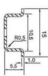 DIN (ДИН) рейка 15мм x 5.5м, miniature top-hat rail 15x 5.5(EN 50045, BS 6273, DIN 46277-2);