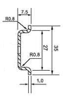 DIN (ДИН) рейка 35мм x 7.5мм = top-hat rail 35 x 7.5 (EN 50022, BS 5584, DIN 46277-3)