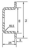 DIN (ДИН) рейка 75мм х 25 мм или 75х3 (имеется в виду толщина), wide top-hat rail 75 мм (EN 50023, BS 5585);