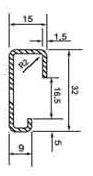 DIN (ДИН) рейка 32 мм х 15 мм, G-type rail 32 х15 (EN 50035, BS 5825, DIN 46277-1)