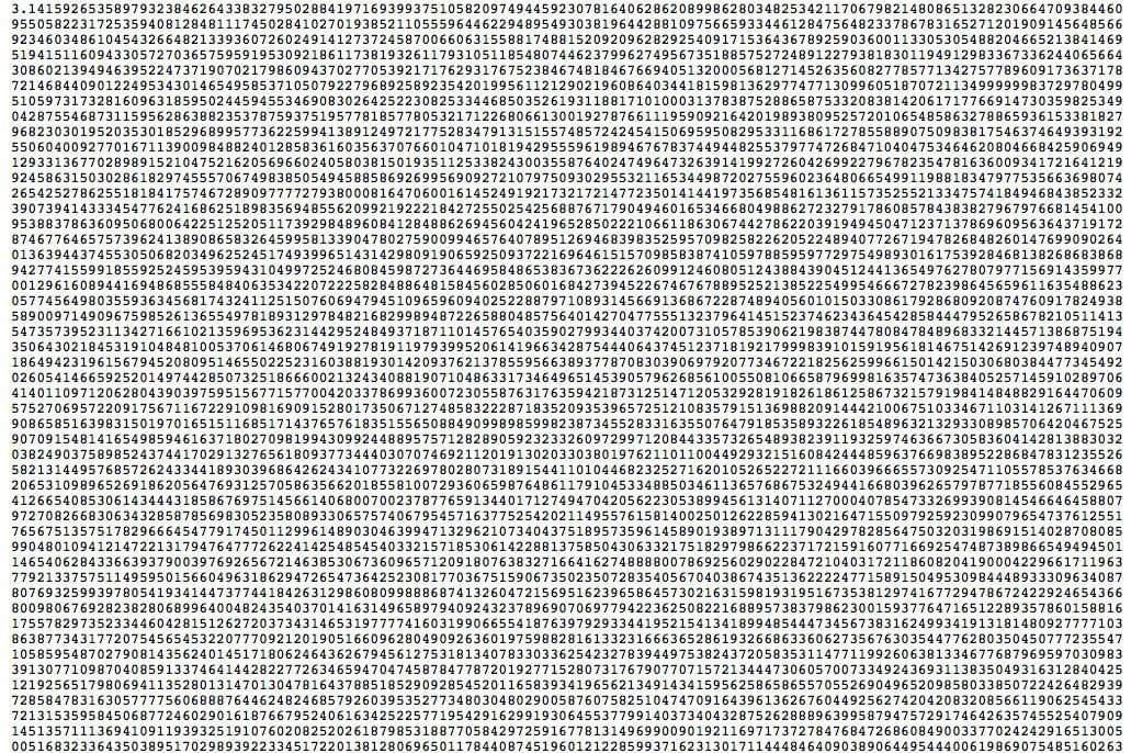 Чиcло пи. π, 2π, 1/π, π/2, π/3, π/4, π/180, (π/180)2, π2, π3, π2, корень квадратный из π, ln π, lg π, πe, eπ, e-π, e1/(2π) , ii , e-1/(2π)