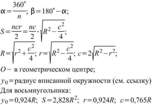 Формулы вычисления размеров плоской фигуры:  Правильный многоугольник.