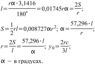 Формулы вычисления размеров плоской фигуры:  Сектор.