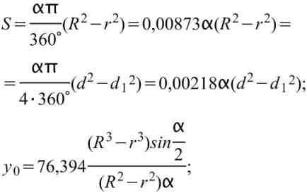 Формулы вычисления размеров плоской фигуры:  Кольцевой сектор.