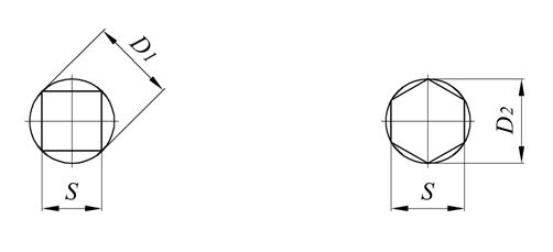 Таблица: Диаметр заготовок - круглых прутков под квадраты и шестигранники в мм в зависимости от размеров квадратов и шестигранников. Диаметр круга, описанного вокруг квадрата и шестигранника.