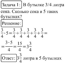 Умножение правильных дробей и смешанных чисел на натуральное число: Чтобы умножить правильную дробь на натуральное число, надо ее числитель умножить на это число, а знаменатель оставить без изменения. Для того, чтобы умножить смешанное число на натуральное число, можно смешанное число предстваить в виде неправильной дроби, а затем ее числитель умножить на это число, а знаменатель оставить без изменения, после чего выделить целую часть.
