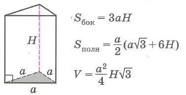 Площадь поверхности и объем правильной треугольной призмы