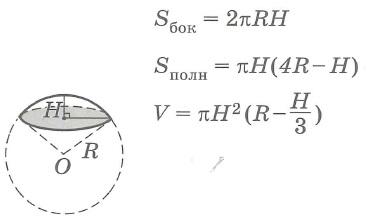 Площадь поверхности и объем шарового сегмента