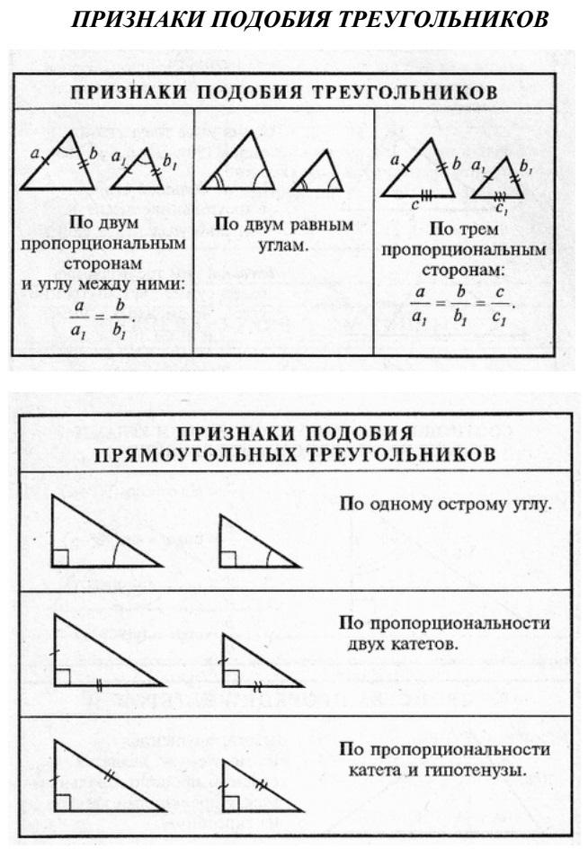Признаки подобия треугольников. Признаки подобия прямоугольных треугольников.
