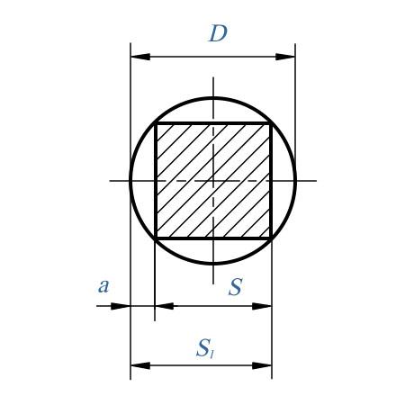 Таблица: Фрезерование квадратов. Диаметр круга, описанного вокург квадрата и ключевые размеры для снятия материала