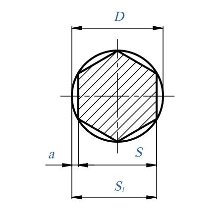 Таблица: Фрезерование шестигранников. Диаметр круга, описанного вокург шестигранника и ключевые размеры для снятия материала.