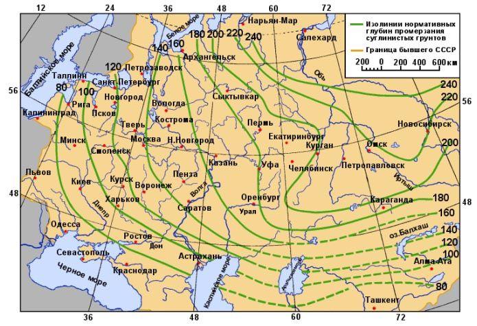 Таблица 1. Глубина промерзания грунтов по всей России.