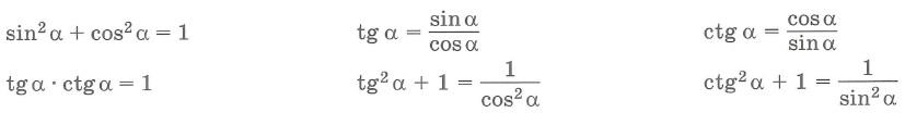 Основные формулы. Тригонометрические функции тангенс и котангенс tg и ctg: