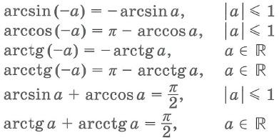 Свойства обратных тригонометрических функций arcsix, arccos, arctg, arcctg