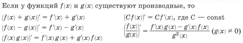 Производная функции. Правила дифференцирования. Если у функций f(x) и g(x) существуют производные, то: