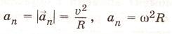 Нормальное (центростремительное) ускорение:   характеризует быстроту изменения вектора линейной скорости. Вектор  всегда направлен к центру окружности, выражается так