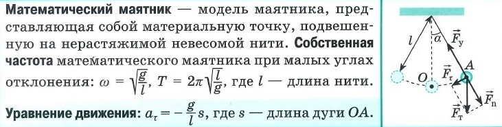 Математический маятник: определения, уравнение движения. Собственная частота математического маятника. Собственная частота груза на подвесе.