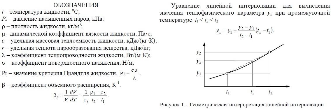 Легенда - обозначения: Плотность, вязкость динамическая, теплоемкость, удельная теплота парообразования, теплопроводность, число Прандтля, коэффициент объемного расширения.
